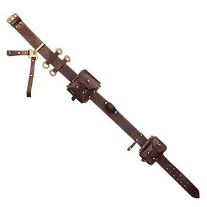 "Steampunk Leather Utility Belt, 32""-36"" waist, Brass, Pouch, LARP, Cosplay"