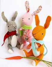 Warren - Sewing Craft A5 Creative Card PATTERN - Doll Felt Rabbits Bunnies Bunny