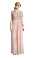 ADRIANNA PAPELL ENGLISH ROSE BLUSH PINK GOWN SHORT SLEEVE SEQUIN MOB WEDDING