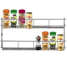 Stainless Steel 2 Tier Spice Herb Jar Storage Kitchen Mounted Cupboard Door Rack