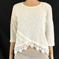 Red Camel Womens Shirt Size Large Cream Ivory 3/4 Sleeve Crochet Lace Top