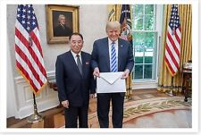 President Donald Trump Holds Letter From Kim Jong Un 8x12 Silver Halide Photo