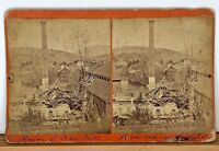 Stereoview Ruins of a Paper Mill damage destruction river smokestack