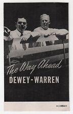 1948 THOMAS DEWEY Earl Warren POLITICAL Postcard PC President WAY AHEAD RNC GOP