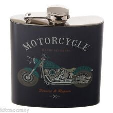 HANDY STAINLESS STEEL 6OZ HIP FLASK,RETRO MOTORCYCLE COLLECTABLE