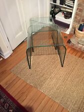 Pace, glass checkerboard nesting tables. Original owner. Need to be polished.