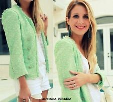 RARE ! ZARA MINT GREEN BLAZER JACKET COAT FANTASY BOUCLE FRAYED LARGE L NEW