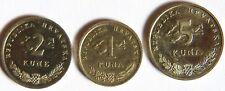 "Monete Hrvatska 3 pezzi"" 5 & 2 & 1 kuna Croazia"" 2001,2006,2001"