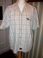 No Fear Grey/white check Short Sleeve Shirt Size Large