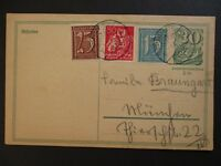 1922 Germany Multi Franking Inflation Postcard Cover