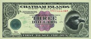 Chatham Islands (New Zealand) 3 dollars, series 2000, POLYMER.