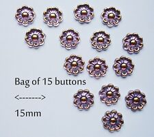 Flower Buttons 15 Vintage Style Sparkly Purple Gold Effect 15 mm Sparkle Sew on