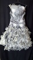 Boginni & Co silver short dress with frills lower half to fit size 14 -16