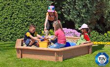 Sandkasten sechseckig 230x30 cm Kinderspielgerät Spielgerät Lärche Holz NEU