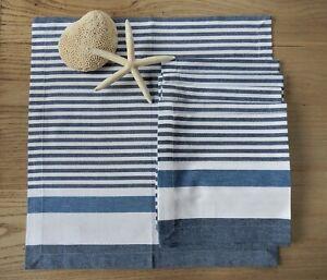 John Lewis Nautical Blue & White Stripe Napkins Serviettes 100% Cotton x 6