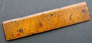1800's Antique PRIMITIVE Boxwood DRAWING RULE Wooden Ruler DRAFTING INSTRUMENT