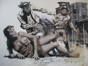 VINTAGE WESTERN GUN FIGHT NUDE RISQUE ILLUSTRATION PUBLISHED ORIGINAL COWBOY ART