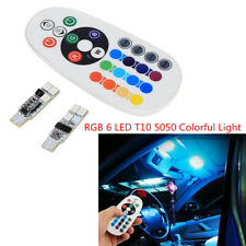 2 Pcs T10 5050 6 SMD RGB LED Car Interior Dome Reading Lights + Remote Control