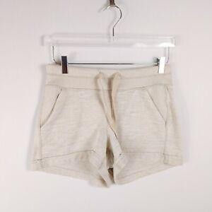 Athleta Women Casual Lounge Shorts Size S Beige Elastic Waist Drawstring Pockets