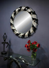 Silver Black Wall Mirror Modern Large 84cm Round Bedroom Living Room Hall Circle