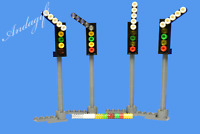 LEGO train signal 4 modern train signals to shoew direction custom instructions