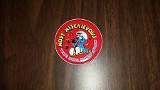 Vintage Smurf Most Mischievous True Blue Smurf Award Sticker Back Button 1983