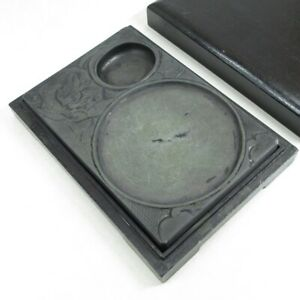 D1511: Chinese ink stone with appropriate sculpture of lotus with frog design