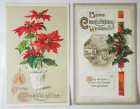 Antique POSTCARD 2 Christmas Cards JOHN WINSCH 1912 Vintage Holly Poinsettia