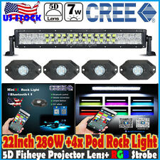 "5D 22""inch 280W CREE RGB LED Light Bar +4X Pod Mini Rock Lamp Halo Ring Flashing"