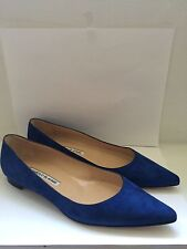 Manolo Blahnik Blue(Royal) Suede Flats US 6/EU 36 1/2 Hand Made in Italy $645