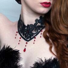 Ruby Red Steampunk Vittoriano Collana Girocollo gotico dark sexy pizzo MATRIMONIO