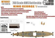 Wood Hunter 1/700 HMS Battleship King George V Wooden Deck for Tamiya kit #77525