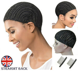 Cornrow Braiding Wig Cap Black For Making Wigs, Wig Clips & Strong Elastic Band