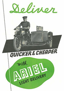 1930's Ariel  'Light Delivery' motorcycle & sidecar  poster