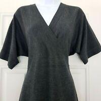 EAST Dark Grey Knit 100% Merino Wool Faux Wrap Jumper Dress Size M