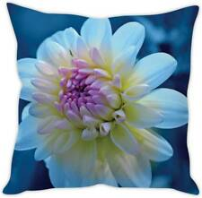 Flower Print Cushion Cover Polyester White And Blue Throw Pillow Case Cushion