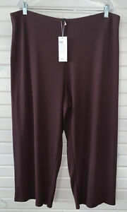 NWT Eileen Fisher Sz PLUS 1X Cassis Cotton Blend Ribbed Straight Cropped Pants