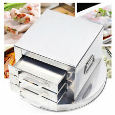 3 Layer Rice Noodle Roll Steamer cooker Steaming Machine Drawer Stainless Steel