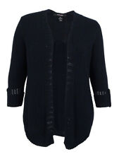 Style & Co. Women's Roll-Tab Open-Front Cardigan Indigo Blue/Deep Black, 0X