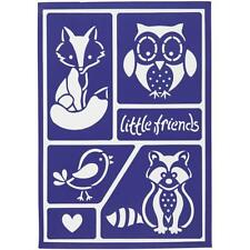 Little Friends Flexible Self Adhesive Stencil Sheet For Paper Wood Crafts 21 cm