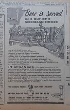 1957 newspaper ad for US Brewers Foundation Arkansas - Consumption up, builds