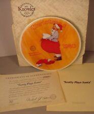 Norman Rockwell Christmas Collector Plate Scotty Plays Santa MIB w/ COA 1980