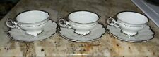 QTY 6 HUTSCHENREUTHER REVERE COFFEE TEA CUPS & SAUCERS WHITE & PLATINUM TRIM