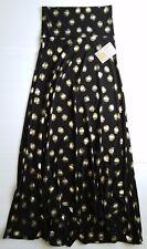 LuLaRoe Gold Polka Dot XS Maxi Elegant Skirt Dress BLACK Background UNICORN! NEW