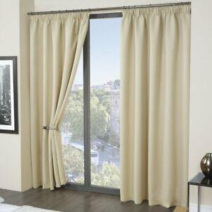 "'Eco- Friendly'  Thermal Blackout Pencil Pleat Curtains - Mushroom (65 x 54"")"