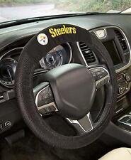 Official NFL Football Steelers Team Logo Black Premium Steering Wheel Cover