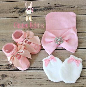 Newborn Baby Infant Girl Toddler Comfy Hospital Cap Beanie Hat pink set big bow