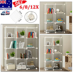 6/8/12 Cube Metal DIY Wire Storage Shelves Cabinet Toy Book Display Shelf White