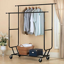 Us Commercial Grade Cloth Hanger Collapsible Rolling Double Rail Garment Rack