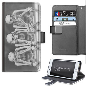 Skeletons Phone Case, PU Leather Flip Case, Cover For Samsung, Apple, Sony